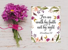 2 Corinthians 5:7, For We Walk By Faith Not By Sight, Bible Verse Print, Bible Verse Art, Scripture Print, Christian Art, Scripture Quote by MakesMyDayHappy on Etsy