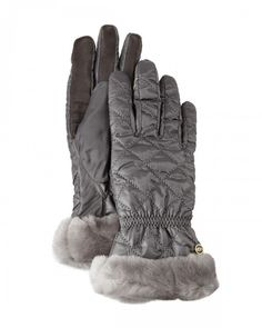 Ugg Quilted Gloves W Shearling Fur Cuffs Women's X Gray Australia | Accessory