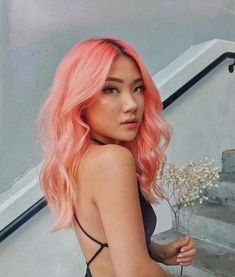 perfect peachy-pink hair from Marycake Cabelo Coral Pastel, Coral Hair Color, Peachy Hair Color, Pink And Orange Hair, Hair Dye Colors, Turquoise Hair, Hair Colour, White Hair, Cheveux Oranges