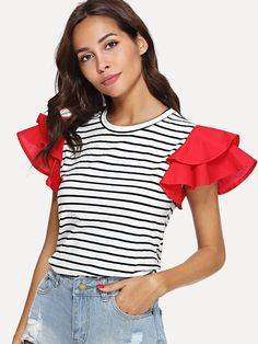 Casual Striped and Colorblock Regular Fit Round Neck Short Sleeve Butterfly Sleeve Pullovers Black and White Regular Length Contrast Layered Sleeve Striped Tee Couture Fashion, Diy Fashion, Fashion Outfits, Cream T Shirts, Sleeves Designs For Dresses, Mode Hijab, Mode Inspiration, Striped Tee, Fashion 2020