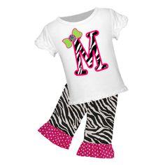 Personalized Zebra Initial Graphic Tee/Zebra Print Ruffled Pant, Capri, or Short Set