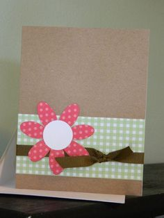 Nice use for a Kraft paper card. Could put any greeting inside circle in middle of flower