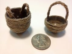 Miniature Dollhouse Baskets made from twine and vending machine capsule. How cute!