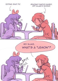 Funniest things is now all I can think about is this same situation going on in RWBY since the character is named Blake lol --- I'm pretty sure that this is supposed to be Blake and Ruby Rwby Blake, Rwby Bumblebee, Rwby Volume, Rwby Red, Rwby Comic, Rwby Ships, Blake Belladonna, Rwby Anime, Everything