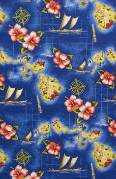 """Hawaiian Islands Hibiscus Tiki Compass Royal Blue, Clothing Tropical Home Decor, Quilting Craft Sewing Material 45""""Wide By the Yard - HC9441 by gBagHawaii on Etsy"""