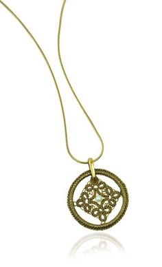 tatted lace pendant in gold tatting