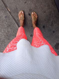peplum, floral pants, & tory burch sandals