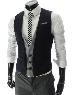 TheLees (VE35) Mens Layered Style 3 Button Slim Vest Waistcoat Navy Large(US Medium) TheLees,http://www.amazon.com/dp/B008N3XCM4/ref=cm_sw_r_pi_dp_rWd6rb10DYTPDR30