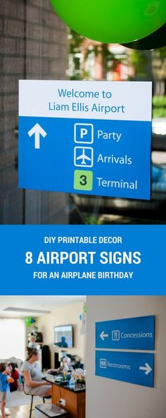 8 printable airport signs for an airplane birthday party | airplane birthday party decorations