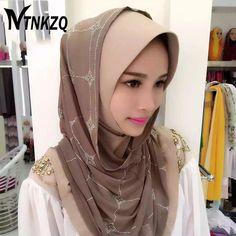 [NTNKZQ]Fashion rimmed Muslim Hijab Scarf Islamic Shawls Wrap Shinny Crystal Leaf Print Scarf Check hijab Headscarf
