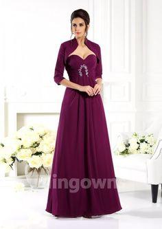 Sleeveless Floor Length Jacket  Zipper Sweetheart Grape Chiffon A-line Mother Of The Bride Dresses