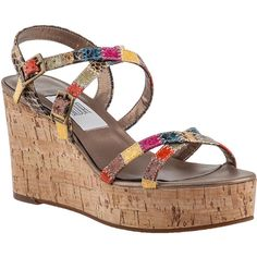 VANELI FOR JILDOR Polar Wedge Sandal Bright Multi Snake (€51) ❤ liked on Polyvore featuring shoes, sandals, bright multi snake, multi colored sandals, multi color wedge sandals, rainbow sandals, wedge sandals and vaneli sandals