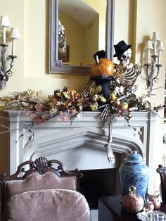 Skeleton on the mantel