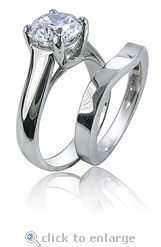 Luccia 2 Carat Round Trellis Bridal Wedding Set with Contoured Matching Band by Ziamond is available in solid 14k gold, 18k gold and platinum. #ziamond #cubic zirconia #wedding set #bridal set