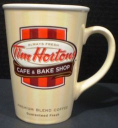 Tim Hortons Mug Cafe and Bake Shop Cream Limited Edition 2012 Mugs Cafe, Premium Coffee, Tim Hortons, Mugs For Sale, Dunkin Donuts, Good Old, Ontario, Milk, Canada