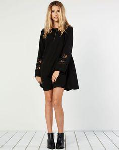 Lace Insert Longsleeve Dress Black