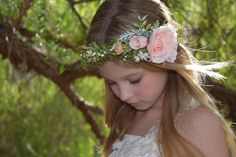Nude Peach & Green Flower Crown - nude peach-pink roses, rose buds and greenery with ivory and white accents -photo prop-wedding floral halo