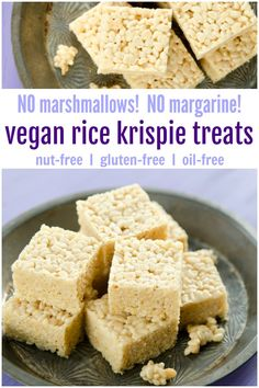 Rice Krispie Treats - made vegan - and made healthier! These healthy rice krispie treats do not use butter, margarine. or marshmallows! Healthy Rice Krispie Treats, Vegan Treats, Vegan Snacks, Vegan Food, Easy No Bake Desserts, Vegan Dessert Recipes, Desert Recipes, Rice Recipes, Dinner Recipes