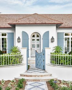 house tour the prettiest florida cottage overlooking the inter coastal waterway 23 « kenebae. Louvered Shutters, Blue Shutters, Green Exterior Paints, Teak Garden Bench, Beach Patio, Porch Doors, Front Doors, Side Porch, Front Porches