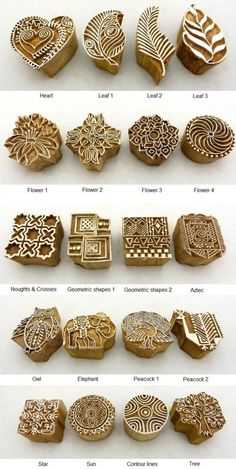 Hand Carved Wooden Block Printed Indian Stamps - Wood Printing Stamping Supplies
