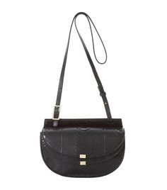 Chloé Small Georgia Python Shoulder Bag in Black   Harrods