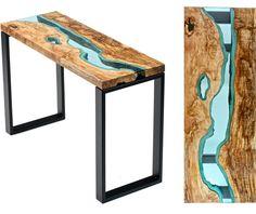 """Mesas y sillas con madera y """"ríos"""""""