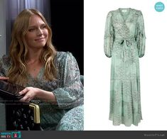 Oriane Dress by ba&sh worn by Abigail Deveraux (Marci Miller) on Days of our Lives Latest Outfits, Fashion Outfits, Days Of Our Lives, Wrap Dress Floral, Our Life, Mint Green, Plus Size, How To Wear, Metallic
