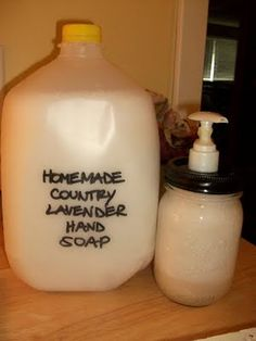 Homemade liquid hand soap - gallon of water, (grated) bar of soap. I'd add essential oil and a bit of shea butter or Vitamin E oil, but I'm like that...