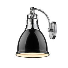 Golden Lighting's Duncan CH 1 Light Wall Sconce - 3602-1W CH-BK
