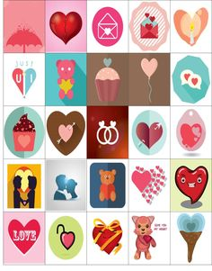 Free Printable-25 Valentine Stickers For Your Happy Planner or Erin Condren Planner
