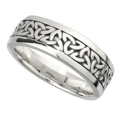 Irish Wedding Band -  Sterling Silver Mens Celtic Trinity Knot Ring