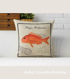 "$15 | Vintage Fish Illustration | Nautical Inspired | Home Décor Pillow Cover | 45x45cm 18""x18"" #homedecor #pillowcover #fish #nauticallife"