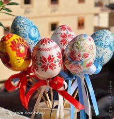 Декор предметов Пасха Декупаж Декупаж пасхальных яиц  Отчет Салфетки фото 1
