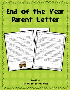 Sweet parent letter to send at the end of the school year ~ FREE