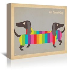 "East Urban Home Mod Rainbow Dogs Vintage Advertisement on Gallery Wrapped Canvas Size: 24"" H x 30"" W x 1.5"" D"