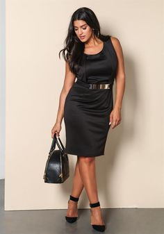Plus Size Clothing | Plus Size Pleated Gold Plate Dress | Debshops