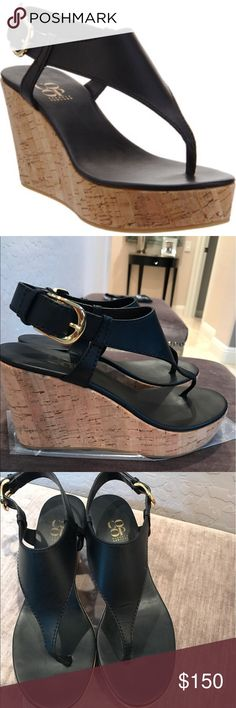 "Barneys New York Co-OP Platform thong sandal Barneys Co-op platform thong sandal. Leather V-strap thong sandal w adjustable halter ankle strap & cork platform. Heel 3.25"" Rubber sole, black. Made in Italy. Great condition worn 2-3x. Barneys New York CO-OP Shoes Wedges"