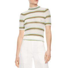 476fc5c092758b --evaChic--This Sandro Jewel Striped Openwork Sweater is a preppy summer top