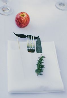 Mustache, apple, whimsical placesetting // Michael Stephens Photography