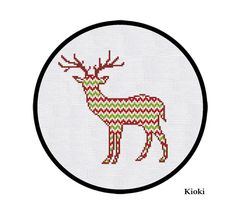 Cross Stitch Pattern Christmas Ornament Deer Instant Download