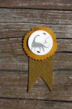 Brontosaurus - Hand Painted Watercolor & Felt : Illustrated Prize Award Ribbon Button . Pin. $35.00, via Etsy.