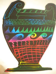Waitsfield Elementary Art: Greek Vases on Scratch Board