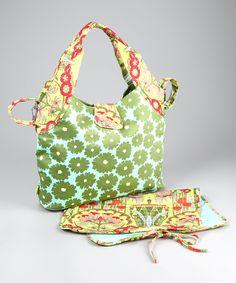 Amy Butler Green Poppies Tulip Organic Diaper Bag