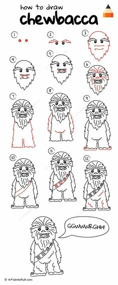 How to draw chewbacca from star wars Star Wars Drawings, Doodle Drawings, Star Wars Crafts, Star Wars Art, Chewbacca, Disney Drawings, Cartoon Drawings, Desenho Do Star Wars, Star Wars Karikatur