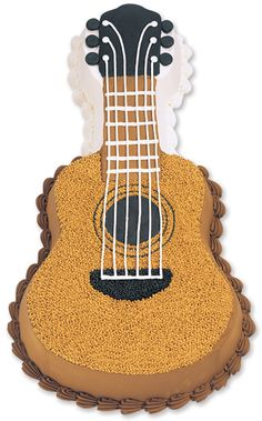 Features:  -Whether your musical choice is classical or pure rock 'n roll, a guitar cake sets the tone for fun at your next party..  -Celebrate band concerts.  -Great for birthday party celebrations..