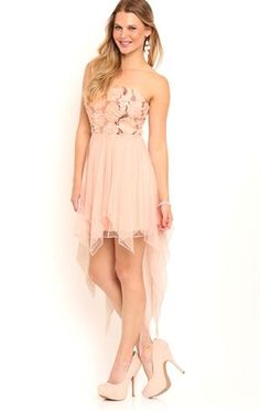 Deb Shops Strapless High Low #Homecoming Dress with Floral Sequin Bodice