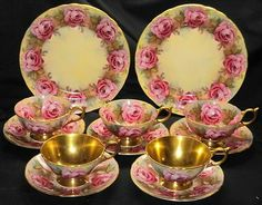 AYNSLEY SET OF 12 PC COLLECTION GOLDEN TEA CUP AND SAUCER TRIO PLATE
