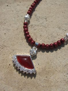 Carnelian and Cubic Zirconia Fan Necklace