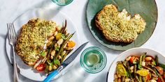"""This cauliflower """"steak"""" is so impressive, your meal will demand a steak knife! Prep work is simplified for this sheet-pan dinner with an herbed garlic oil that's used two ways: first it's mixed with panko and Parmesan for a crispy crust for the cauliflower, then tossed with beans and cherry tomatoes for a zesty side dish."""
