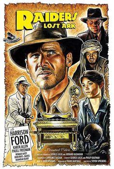 Raiders of the Lost Ark Retro Movie Poster Print-I me some Indiana Jones! Marvel Movie Posters, Classic Movie Posters, Cinema Posters, Movie Poster Art, Classic Movies, Marvel Movies, Indiana Jones, Old Movies, Vintage Movies